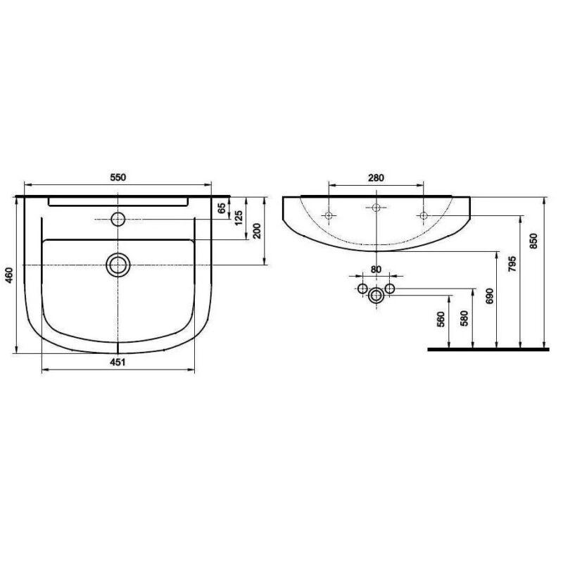 Kolo primo mosdó 55x46cm Bútorra építhető