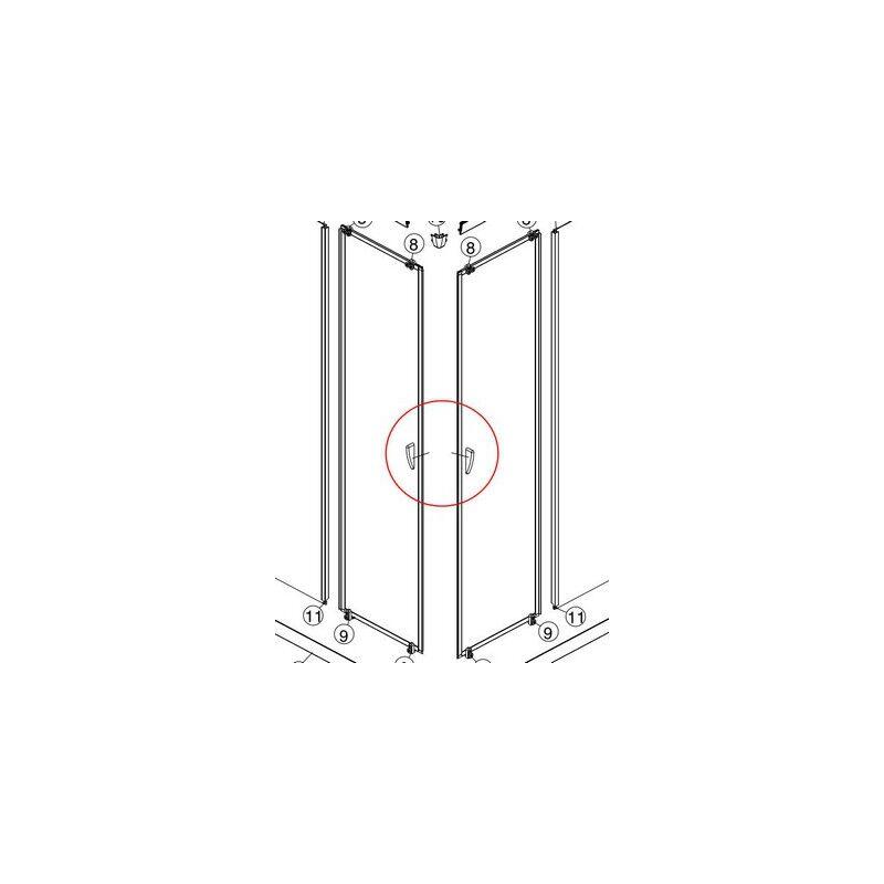 KOLO zuhanykabin alkatrész - komplett ezüst kapaszkodó