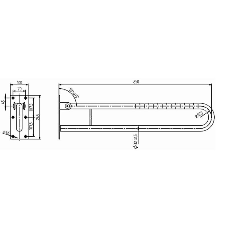 KOLO LEHNEN FUNKTION U alakú felhajtható, merev kapaszkodó 850 mm,