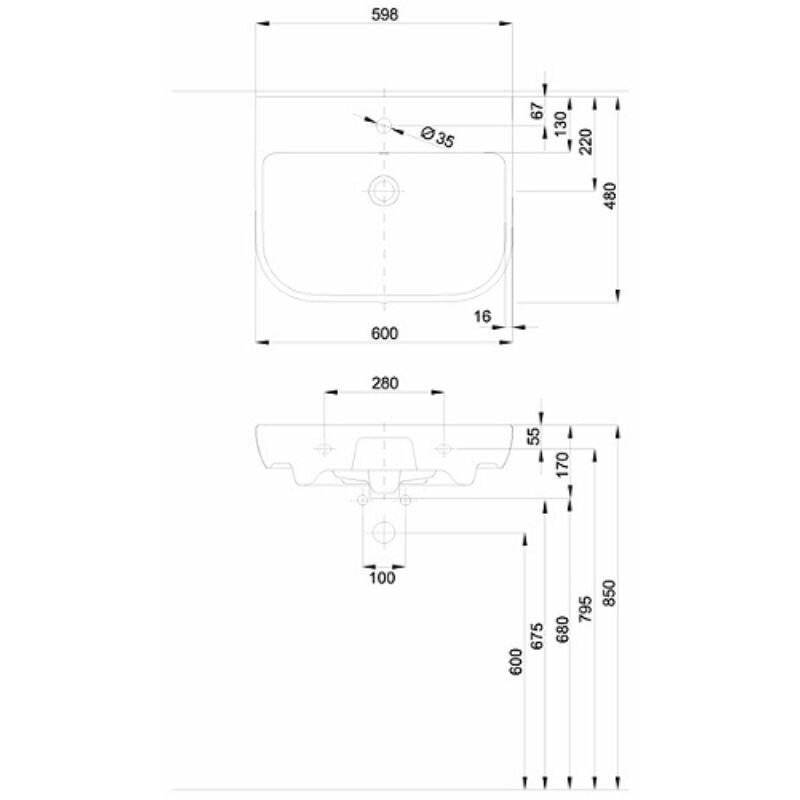 KOLO Traffic mosdó, csaplyukkal, túlfolyóval, 60 x 48 cm